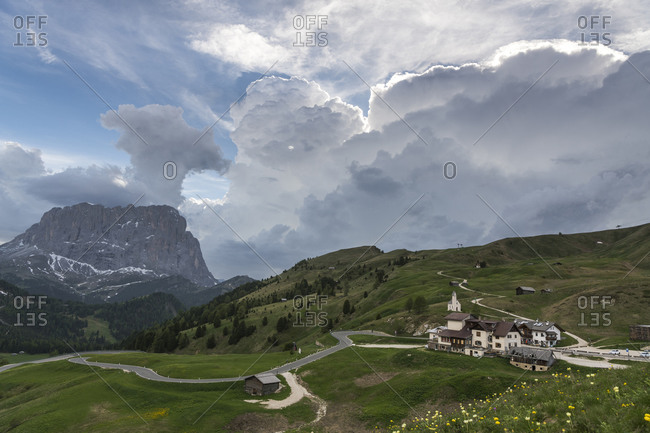 Thunderstorm at the Grodner Joch, mountain pass in the Dolomites, South Tyrol, Italy