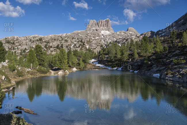 Lago di Limides with reflection of Monte Averau, Dolomites, Italy
