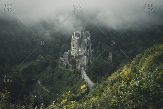 Eltz Castle in Germany, aerial view