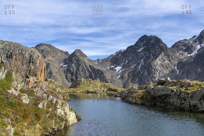 The Eggessensee with view of the Stubai Alps, Stubaital, Tyrol, Austria