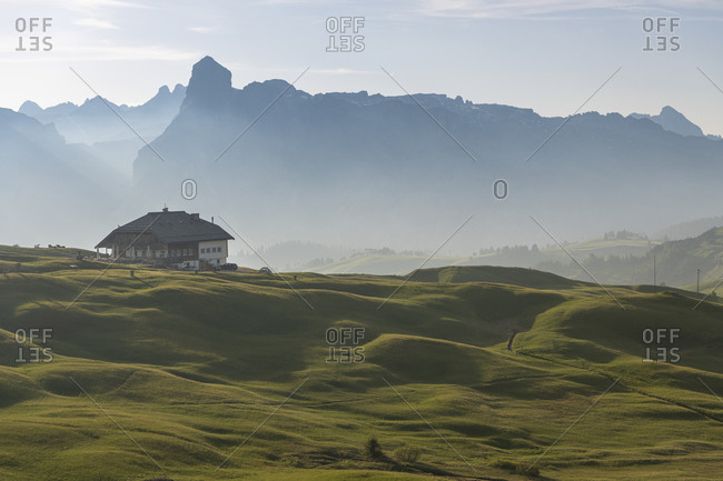 June 25, 2019: View from Pralongia plateau to the Sassongher and the Refugio, Piz La Ila, Dolomites, Italy