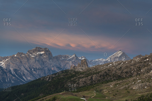 View of Monte Antelao and the Cinque Torri from the Falzarego Pass, sunset, Dolomites, Italy