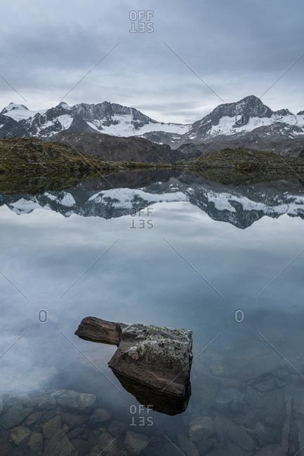 Mutterbergsee in the Stubaital, view of the Stubai Alps, Tyrol, Austria