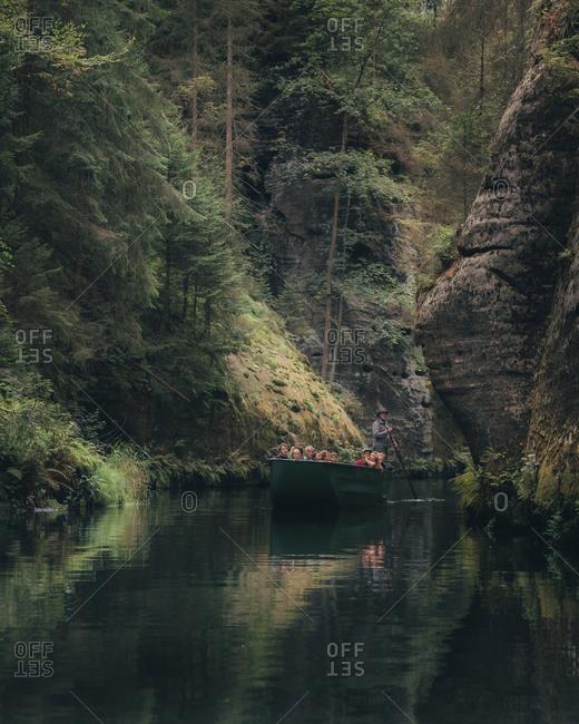 September 8, 2019: Hrensko gorge in the Czech Republic
