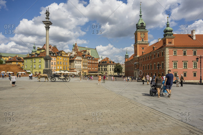 August 17, 2018: People walking in Palace Square, Warsaw, Poland