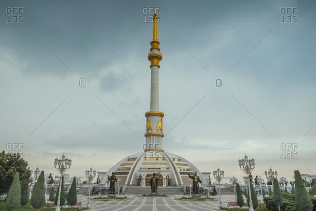 April 10, 2019:  Independence Monument in Ashgabat, Turkmenistan