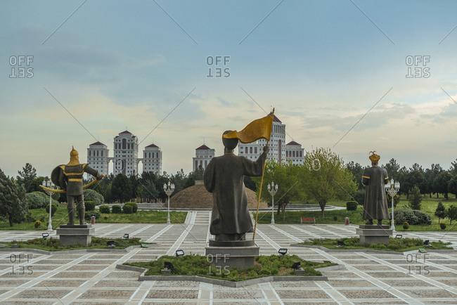 April 10, 2019: Monument of Independence statues back view, Ashgabat, Turkmenistan