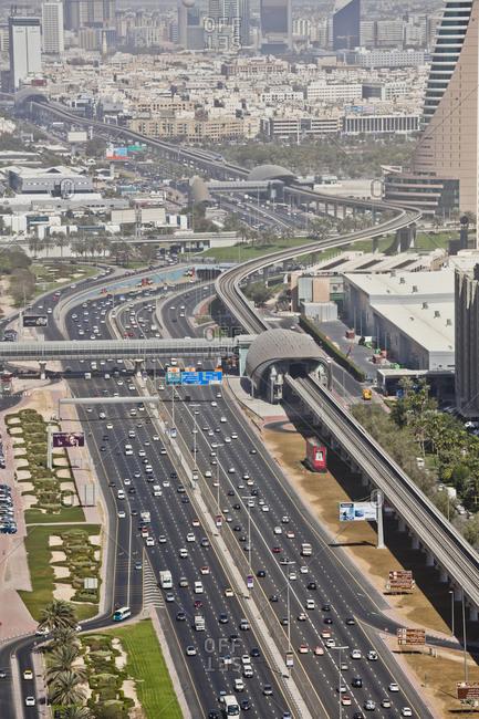 January 1, 1970: Metro Line and Highway Sheikh Zayed Road, Dubai, United Arab Emirates