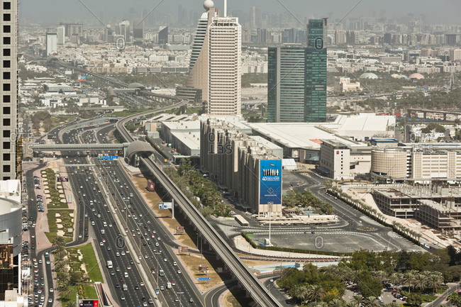 January 1, 1970: Metro Station and Highway Sheikh Zayed Road, Dubai World Trade Center, Dubai, United Arab Emirates