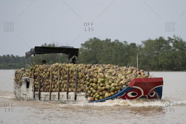 September 26, 2019: Birds eye view of the Mekong Delta Ben Tre, Vietnam