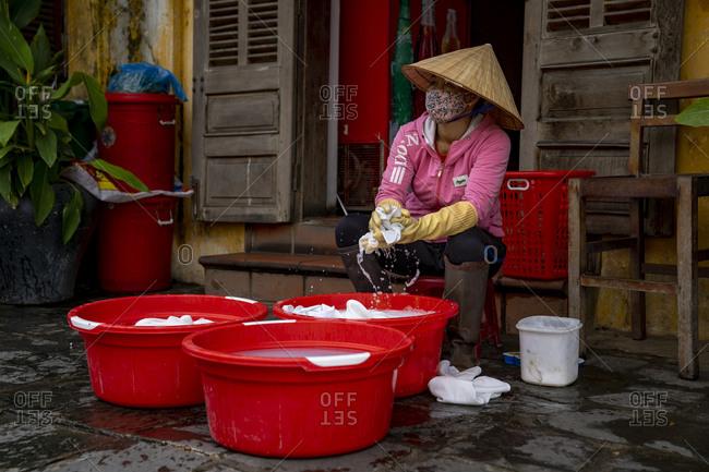 Laundry, woman, Hoi An, Vietnam