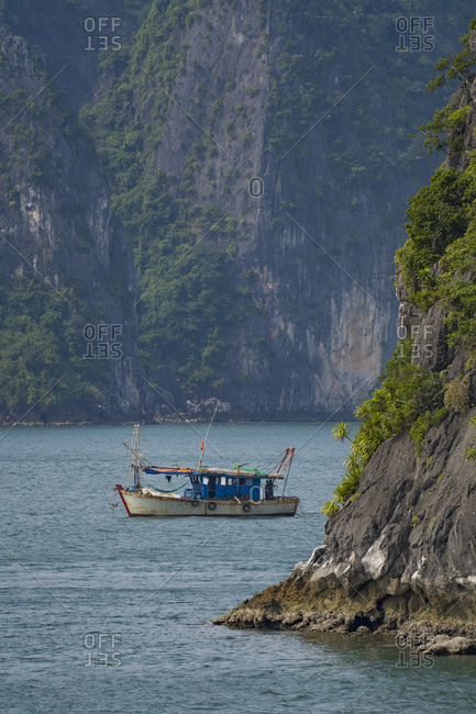 Halong Bay in Vietnam, fishing boat