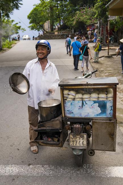 September 22, 2019: Street vendor, snack bar, Hue, Vietnam