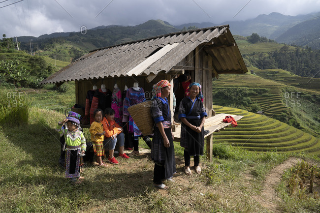 September 21, 2019: Rice harvest in Vietnam, various people in traditional clothes