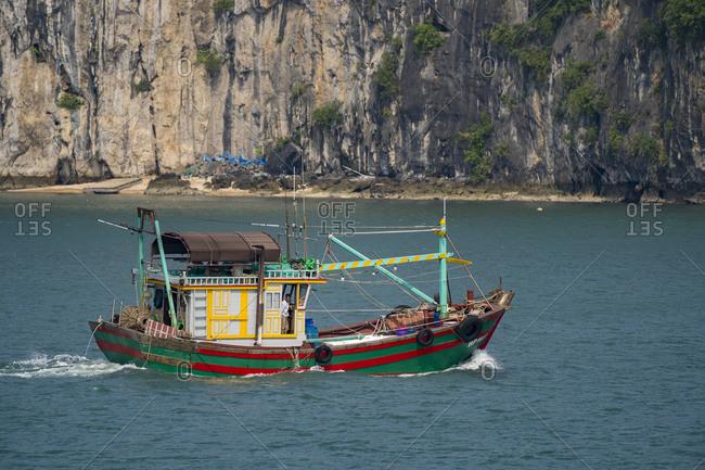 September 18, 2019: Halong Bay in Vietnam, fishing boat