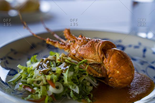 Halong Bay in Vietnam, Lobster, vegetables