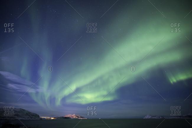 Lofoten Norway Polar lights in February Winter landscape Aurora Borealis