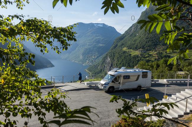 June 25, 2018: Mobile home, parking lot, Geiranger fjord Norway