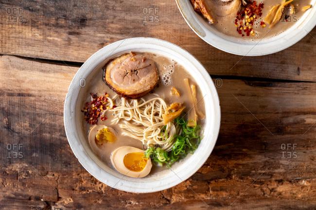 Traditional Japanese pork ramen bowl top view