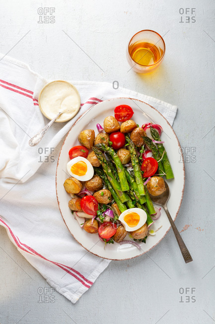 Spring asparagus salad top view
