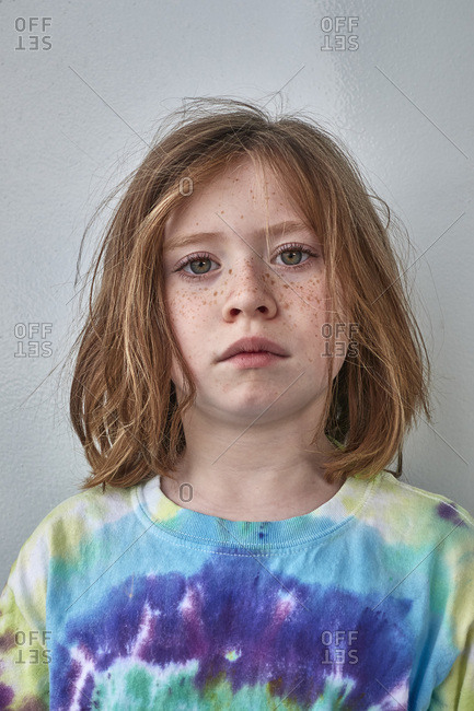 Portrait of child in colorful shirt