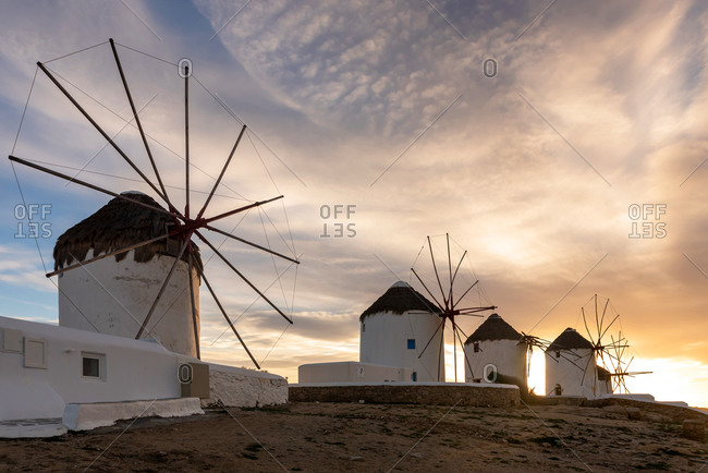 Iconic windmills in Mykonos. Cyclades Islands, Greece