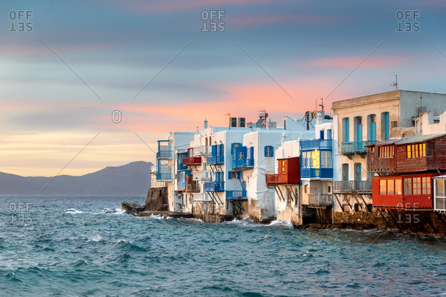 Bright scenic view of the colorful waterfront. Mykonos Town, Greece