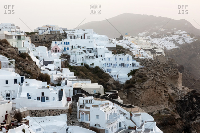 Oia Village On Santorini Island at sunrise, Greece
