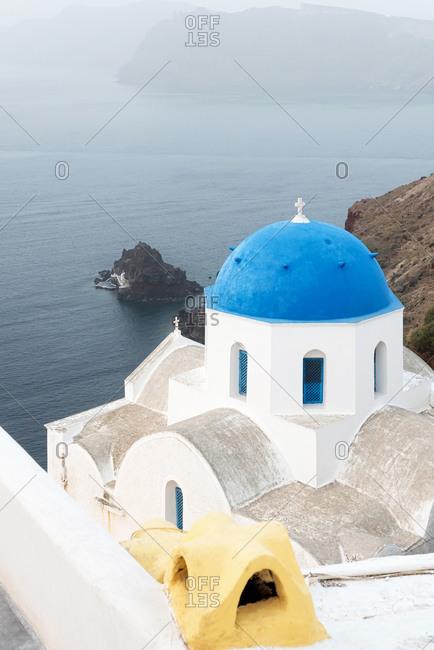 Orthodox church with blue dome on Santorini, Greece