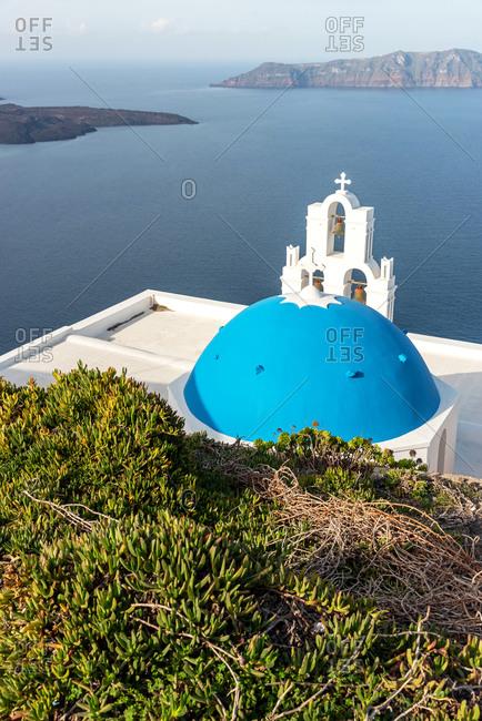 Orthodox church with blue dome on Santorini island, Greece