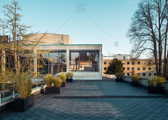 Malmo, Sweden - May 1, 2020: Exterior of the Malmo Opera house during springtime