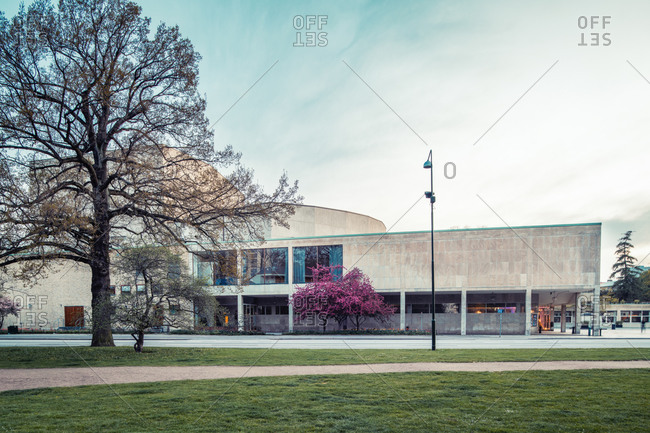 Malmo, Sweden - May 1, 2020: View of the Malmo Opera house with in springtime