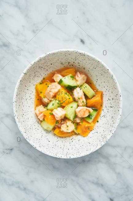 Asian mango and cucumber salad with shrimp