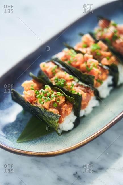 Asian appetizer close up - Offset
