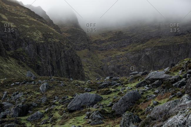 Foggy mountain landscape in rural Ireland