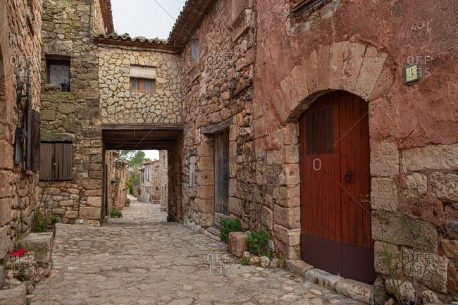 Traditional stone Spanish village street