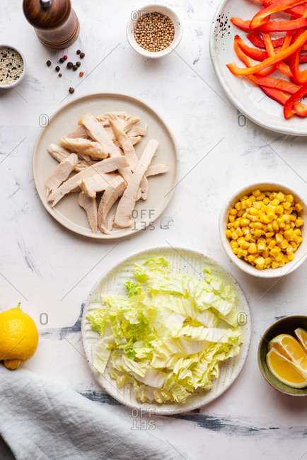Plate with chicken - fresh corn- paprika and chinese cabbage salad