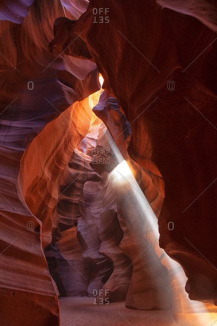 USA- Arizona- Sunbeam illuminating interior of Antelope Canyon