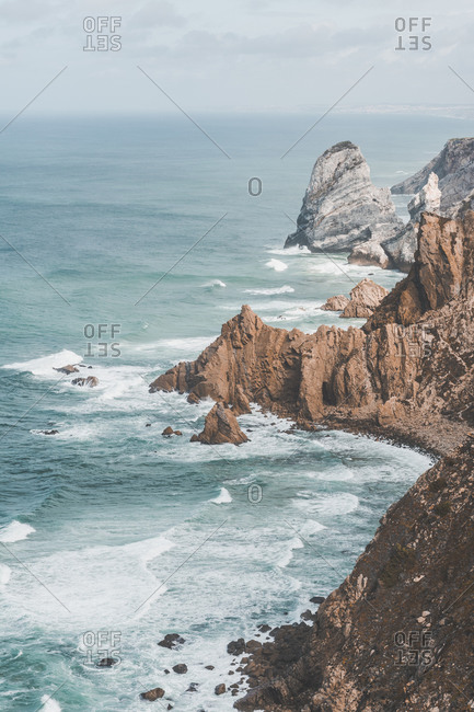 Portugal- Lisbon District- Sintra- High angle view of cliffs of Cabo da Roca