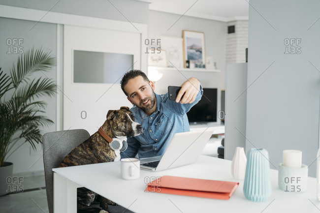 Mid adult man taking selfie with dog while working from home during coronavirus crisis- Almeria- Spain- Europe