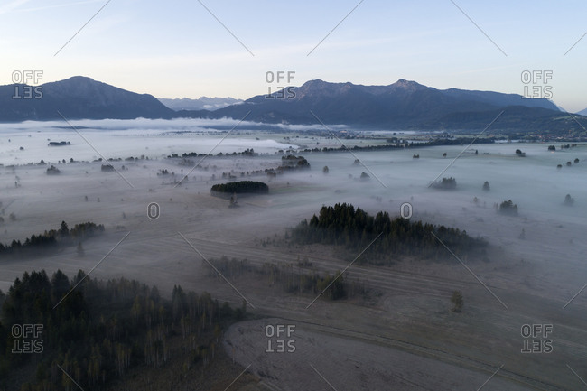 Germany- Bavaria- Drone view of Loisach-Kochelsee-Moore bogs shrouded in morning fog