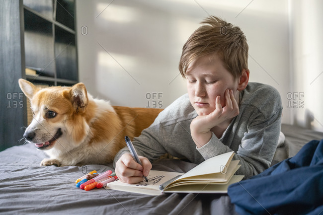 Portrait of drawing boy lying on bed with his dog