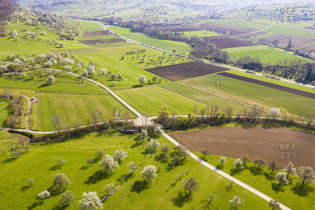 Germany- Baden-Wurttemberg- Weilheim an der Teck- Drone view of vast green countryside in spring