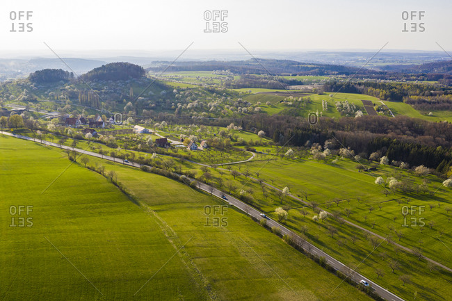Germany- Baden-Wurttemberg- Beuren- Drone view of green countryside landscape in spring