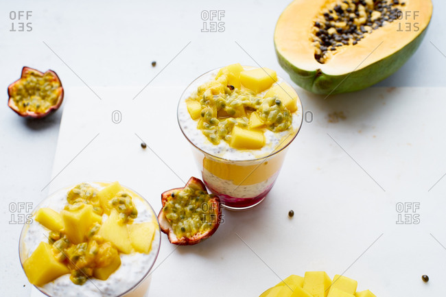 Chia pudding with mango and tropical fruits smoothie. Healthy gourmet breakfast.