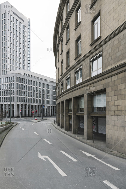 March 8, 2020: Germany- Hesse- Frankfurt- Road markings along empty city street