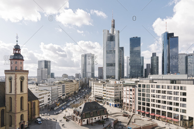 March 3, 2020: Germany- Hesse- Frankfurt- Town square with downtown skyscrapers in background