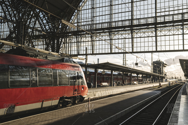 March 3, 2020: Germany- Hesse- Frankfurt- Red train waiting at train station