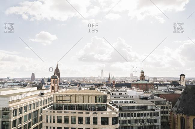 March 3, 2020: Germany- Hesse- Frankfurt- Sunny sky over vast city