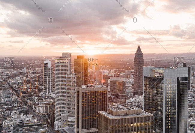 March 3, 2020: Germany- Hesse- Frankfurt- City downtown at moody sunset